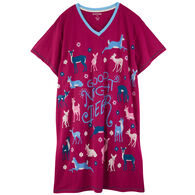 Hatley Little Blue House Women's Good Night Deer Sleep Shirt