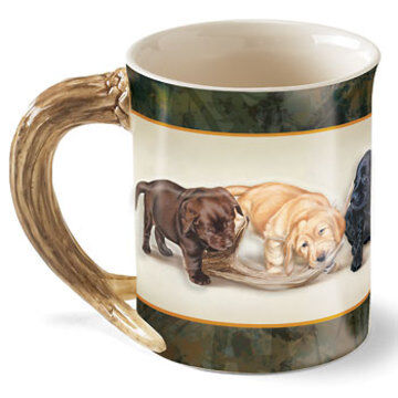 Wild Wings Lab Puppies Sculpted Mug