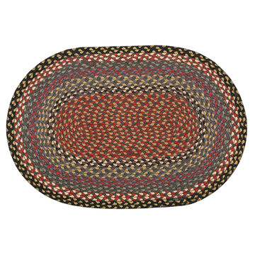 Capitol Earth Oval Burgundy/Blue/Gray Braided Rug