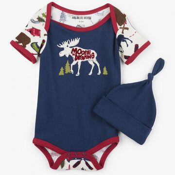Hatley Boys Little Blue House Sketch Country Bodysuit with Hat