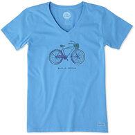Life is Good Women's Basket Bike Engraved Crusher Vee Short-Sleeve T-Shirt