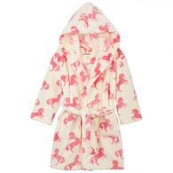 Hatley Girl's Playful Horses Fleece Robe