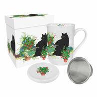 Paperproducts Design Black Cat Flower Pots Tea Mug w/ Lid & Strainer
