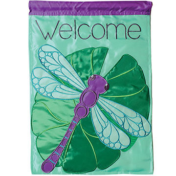 Carson Home Accents Flagtrends Dragonfly & Lilypad Double Applique Garden Flag