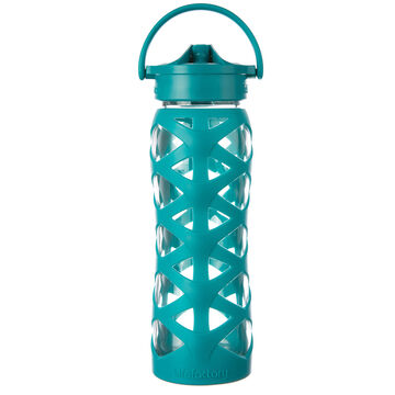 Lifefactory 22 oz. Glass Water Bottle w/ Axis Straw Cap & Silicone Sleeve