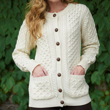 Aran Crafts Womens Traditional Irish Buttoned Knitted Lumber Cardigan Sweater