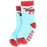Lazy One Infant Boy's Stripe Moose Sock