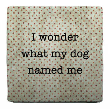 Paisley & Parsley Designs Dog Name Me Marble Tile Coaster