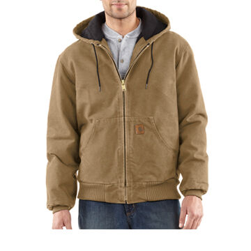 Carhartt Mens Sandstone Active Jac Quilted Flannel-Lined Coat