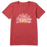 Life is Good Women's Watercolor Daisy Crusher Vee Long-Sleeve T-Shirt
