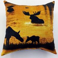 """Moosehead Balsam Fir 5"""" x 5"""" Sunset Moose Pillow"""