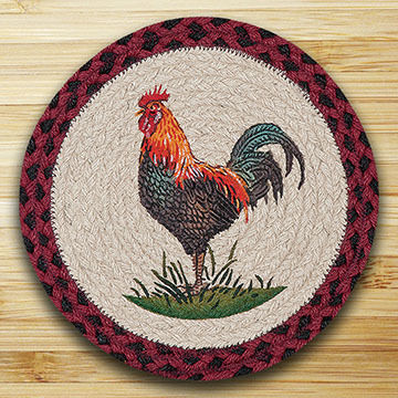 "Capitol Earth Rustic Rooster 10"" Round Braided Rug"