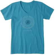 Life is Good Women's Daisy Mandala Crusher Vee Short-Sleeve T-Shirt