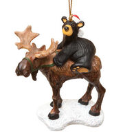Big Sky Carvers Bear Riding Moose Ornament