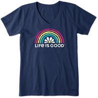 Life is Good Women's Daisy Rainbow Crusher-Lite Vee Short-Sleeve T-Shirt