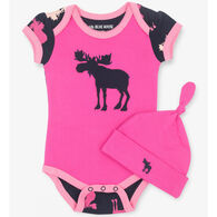 Hatley Infant Girls' Raspberry Moose Baby Bodysuit with Hat