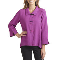 Habitat Women's Solid Color Piano Button Long-Sleeve Shirt