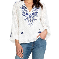Johnny Was Women's Romona Embroidery Long-Sleeve Peasant Top