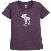 Lakeshirts Women's Blue 84 Portland Moose Maine Short-Sleeve T-Shirt