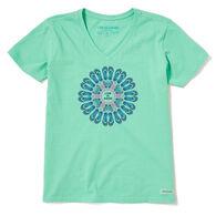 Life is Good Women's Flip Flop Mandala Crusher Vee Short-Sleeve T-Shirt