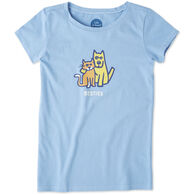 Life is Good Girls' Besties Rocket & Cat Crusher Short-Sleeve T-Shirt