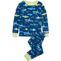 Hatley Boy's Glow In The Dark Animal Subs Organic Cotton Pajama Set