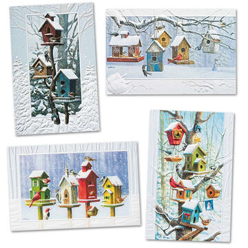 Pumpernickel Press Bright Birdhouses Deluxe Boxed Greeting Cards