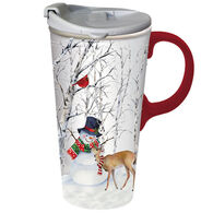 Evergreen Joyful Snowman Ceramic Travel Cup w/ Lid