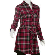 North River Women's Heather Brushed Cotton Flannel Shirt Dress