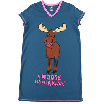 Lazy One Womens Moose Have A Kiss V-Neck Nightshirt