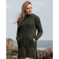 Aran Crafts Women's Ribbed Hooded Sweater Coat