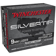 Winchester Silvertip 9mm Luger 115 Grain Defense JHP Handgun Ammo (20)