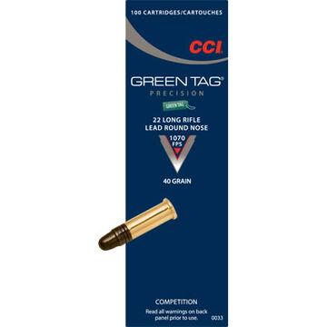 CCI Green Tag 22 LR 40 Grain LRN Rimfire Ammo (100)