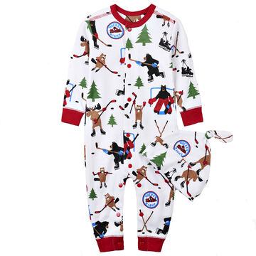 Hatley Little Blue House Infant/Toddler Hockey Night in the Wild Coverall and Hat Set