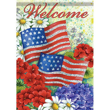 Carson Home Accents Glittertrends American Flag And Flowers Garden Flag
