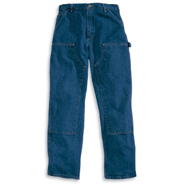Carhartt Mens Big & Tall Double-Front Washed Denim Logger Pant