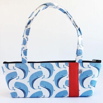 Little Man Womens Whales Print Tomboy Zippered Fabric Handbag
