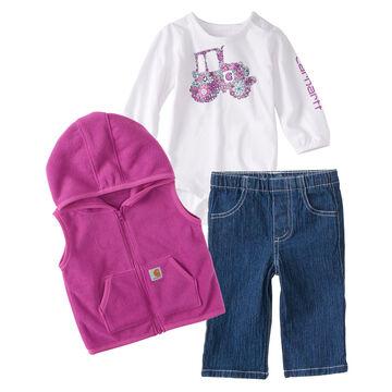 Carhartt Infant/Toddler Girls Floral Tractor Vest Set