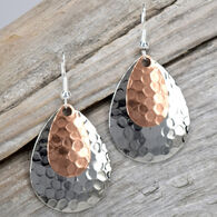 Eye Catching Jewelry Women's Silver & Copper Hammered Earring