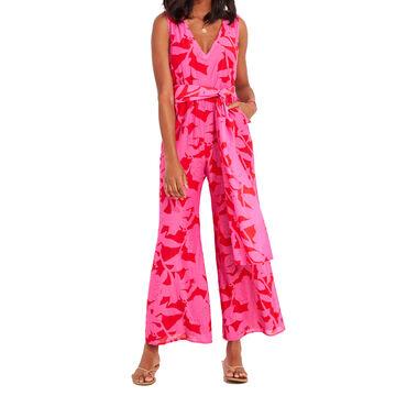 Vineyard Vine Womens Tropical Floral Jumpsuit