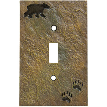 Big Sky Carvers Bear And Tracks Single Switch Plate