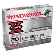"Winchester Super-X 20 GA 2-3/4"" 20 Pellet #3 Buckshot Ammo (5)"