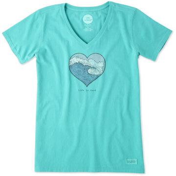 Life is Good Women's LIG Heart Wave Crusher Vee Short-Sleeve T-Shirt