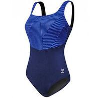 Tyr Sport Women's Monroe Stripe Aqua Controlfit Swimsuit