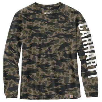 Carhartt Womens Loose Fit Heavyweight Camo Logo Graphic Long-Sleeve T-Shirt