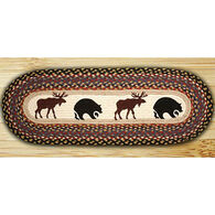 Capitol Earth Bear & Moose Oval Patch Runner Braided Rug