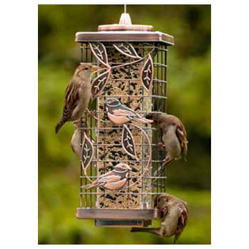 Audubon Squirrel-Resistant Copper Caged Tube Bird Feeder