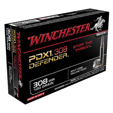 Winchester PDX1 Defender 308 Win 120 Grain Split Core HP Rifle Ammo (20)