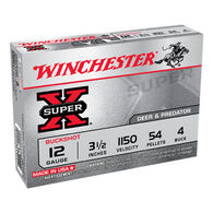 "Winchester Super-X 12 GA 3-1/2"" 54 Pellet #4 Buckshot Ammo (5)"