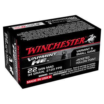 Winchester Varmint HE 22 Winchester Mag 34 Grain JHP Rimfire Ammo (50)